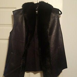 Faux leather fur vest
